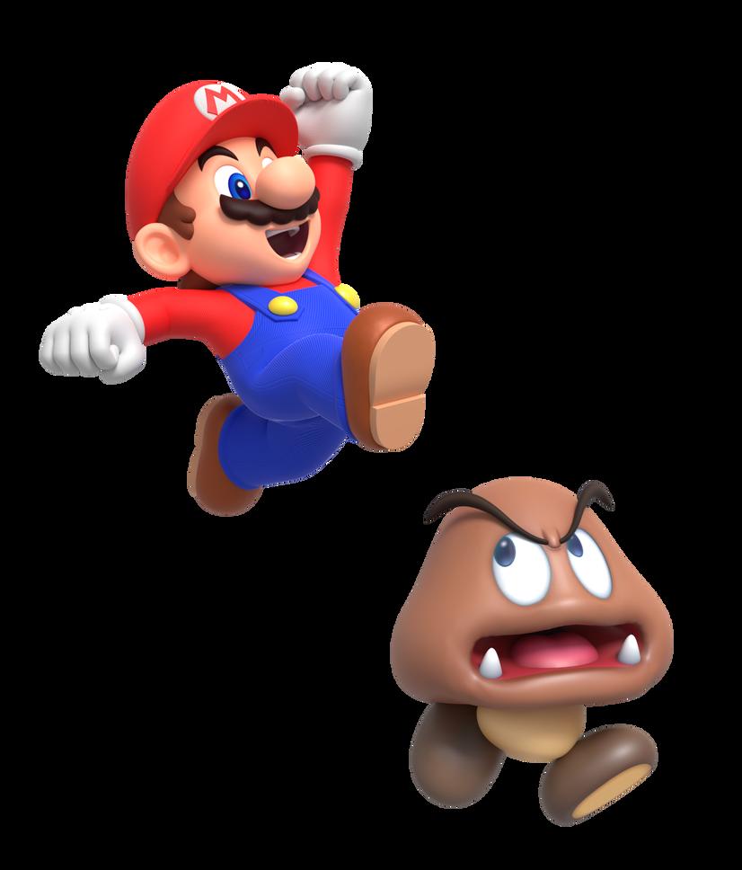 Mario Jump On Goomba Render By Https Www Deviantart Com Nintega Dario On Deviantart Mario Super Mario Art Super Mario