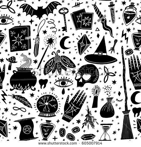 Vector Magic Witch Seamless Pattern Witchcraft Background