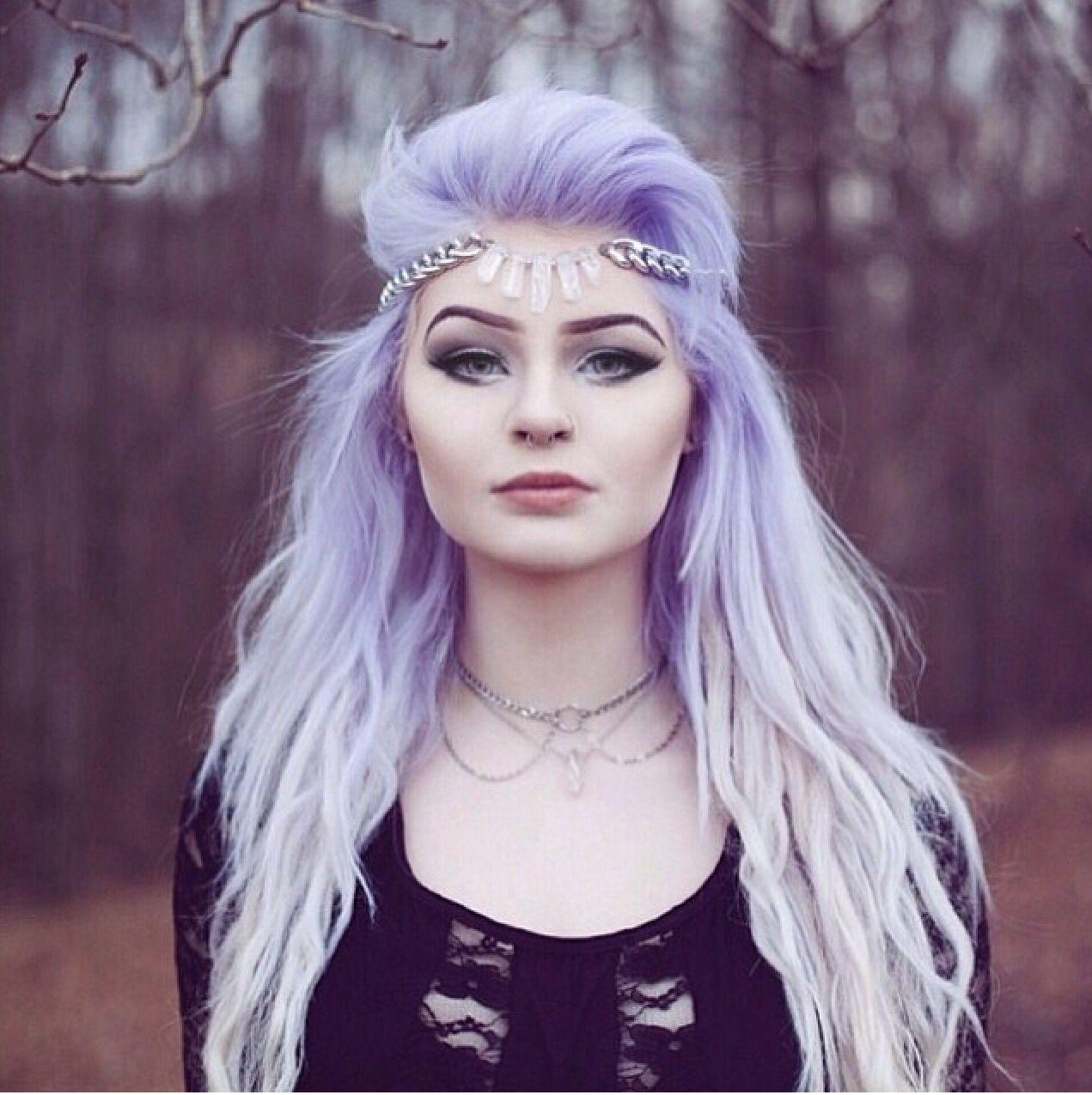 purple lavender lilac hippy bohemian hair pastel bright