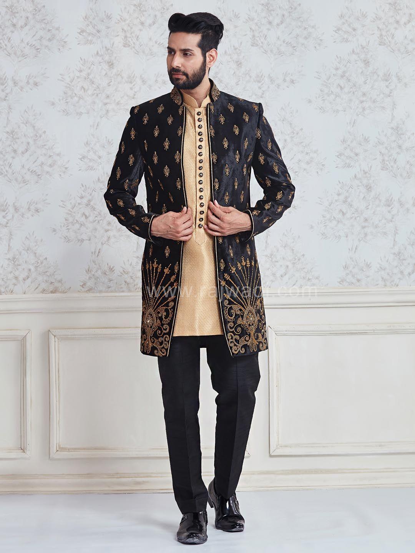 Designer embroidered indo western sherwani rajwadi designer