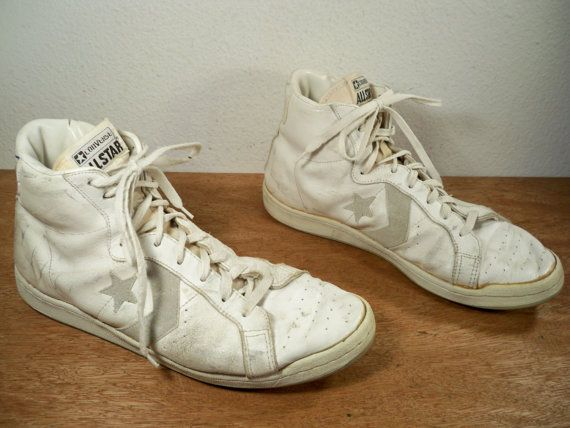 converse vintage shoes. vintage converse all star hi-top white leather basketball sneaker shoes kicks made in korea converse