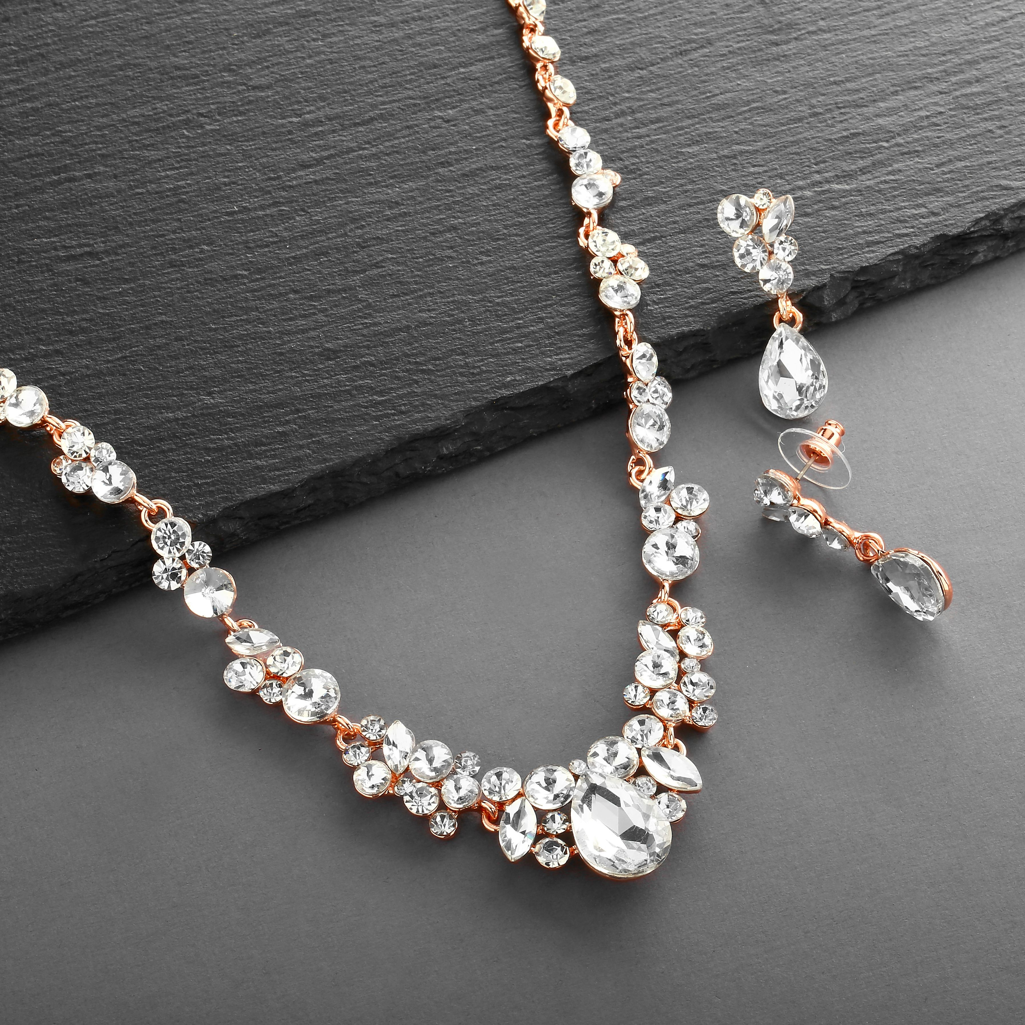 Crystal Bridal Necklace Willow Wedding Earrings Drop Rose Gold Bridal Jewelry Set Earring Necklace Set