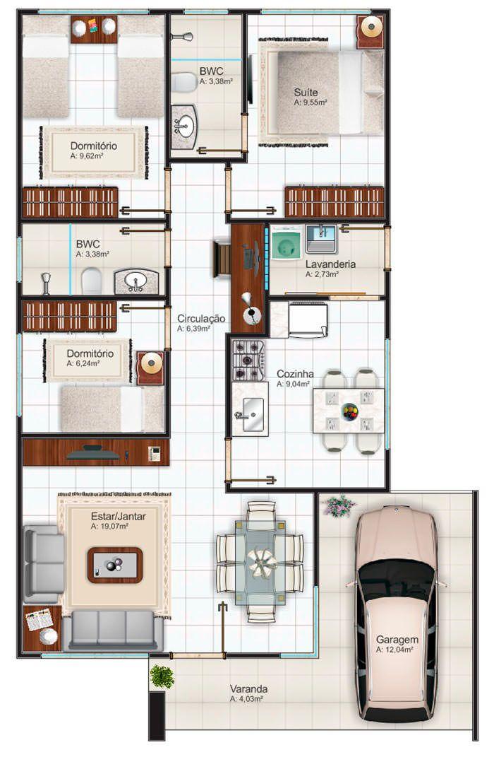 Delightful Plantas De Casas Até 100m2   3 Modelos. Metal House PlansDream ...