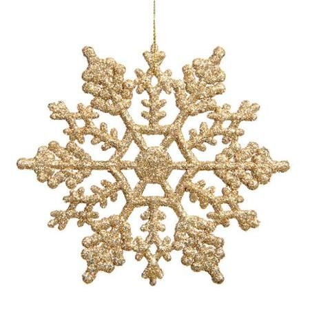 Club Pack Of 24 Gold Glamour Glitter Snowflake Christmas Ornaments 4