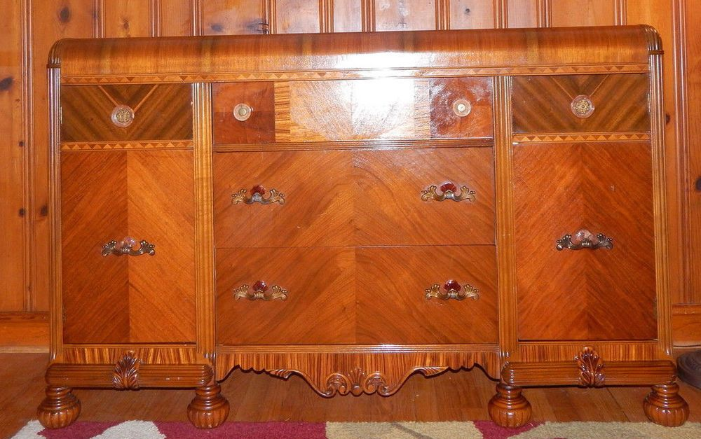 Art Deco Waterfall Front Buffet Sideboard Credenza Ornate