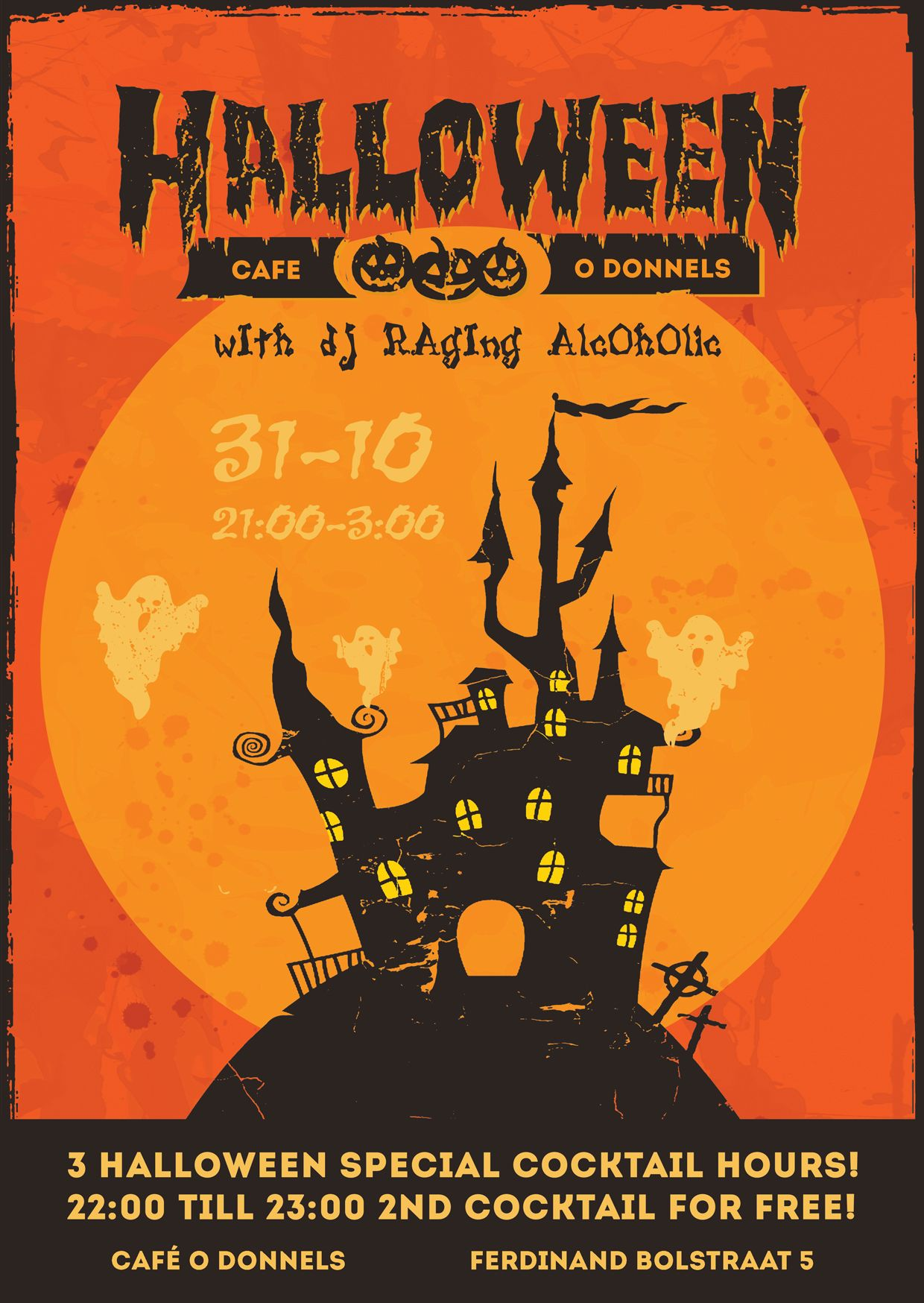 Halloweenthemed poster for an Irish Pub. (With images