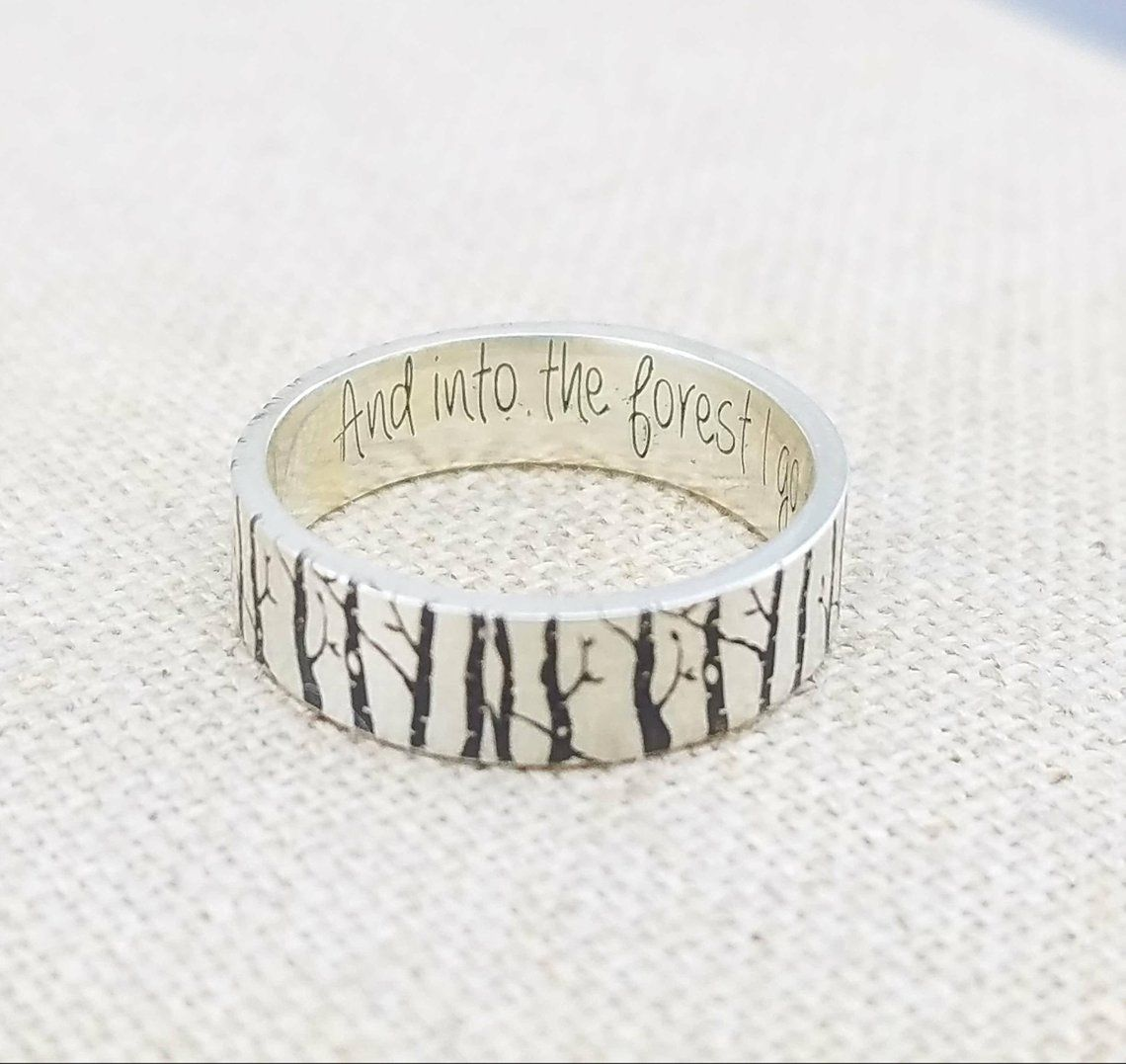 Personalized Silver Ring Wedding Band Forest Jewelry