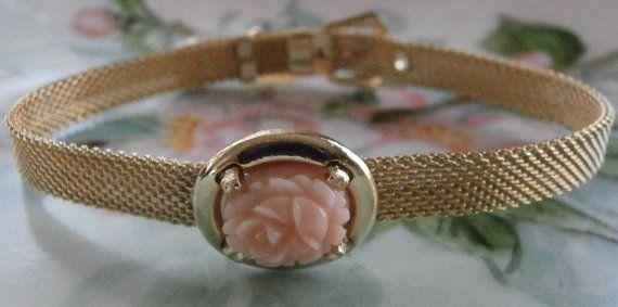 Vintage Natural Angel Skin Coral Mesh Bracelet by StarliteVintageGems ~ #Vintage #Jewelry #PinkCoral #AngelSkinCoral #Fashion #Style #Pantone #ETSY #Coral #VintageJewelry