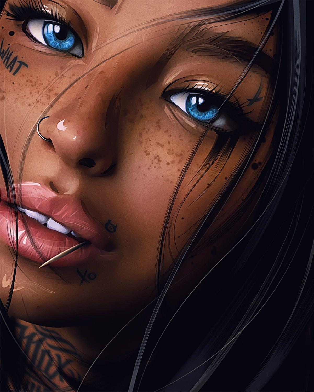 Women Artwork Digital Art Painting Inked Girls Tattoo Looking At Viewer Blue Eyes Face Nose Rings Portrait Max T Digital Art Girl Black Girl Art Art Girl