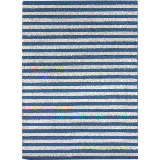 Elegant stripes of cobalt blue and grey make up this inviting, easy care plush area rug.