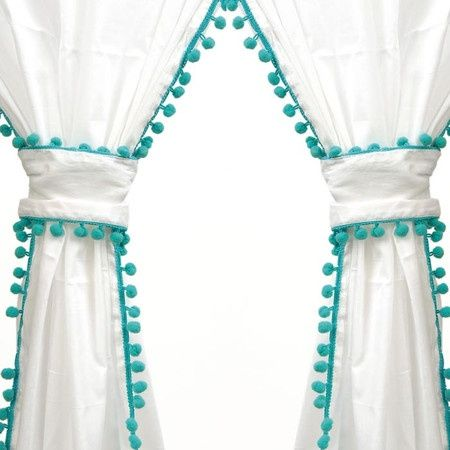 Curtains With Pompom Fringe So Cute For Girls Room Pom Pom Curtains Diy Nursery Curtains Panel Curtains