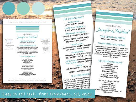 Beach Wedding Program Template Ombre Stripes Sea Gl Mint Turquoise Teal Microsoft Word Printable