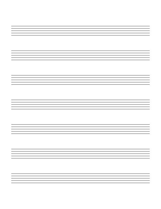 Blank staff paper with 7 very large staves per page Making Music