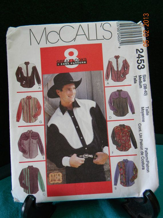 western clasic shirt uncut pattern mccalls 2453 by gloriaus
