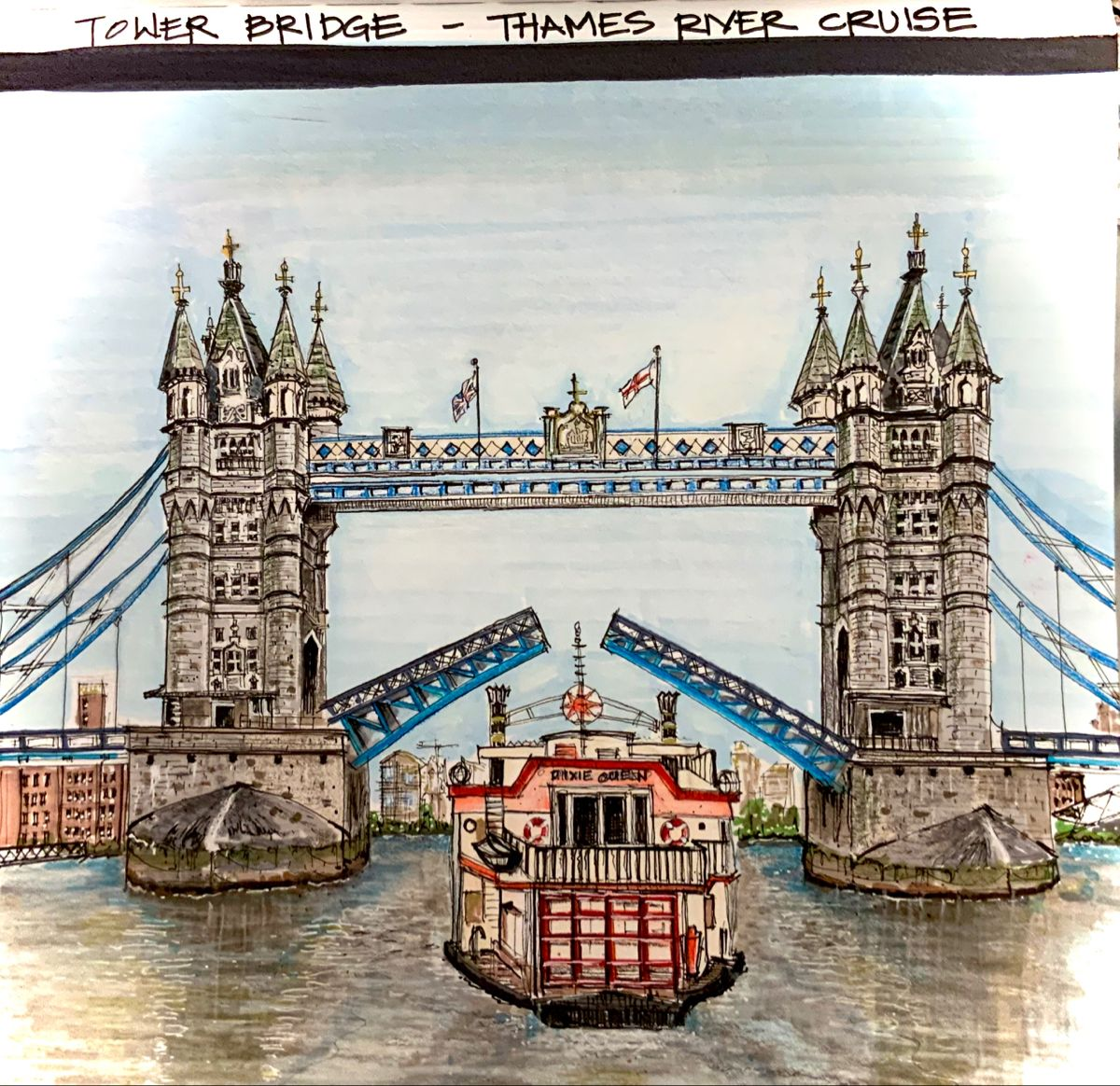 Rendering by Claire #towerbridge #sketch #markers #rendering #archisketch