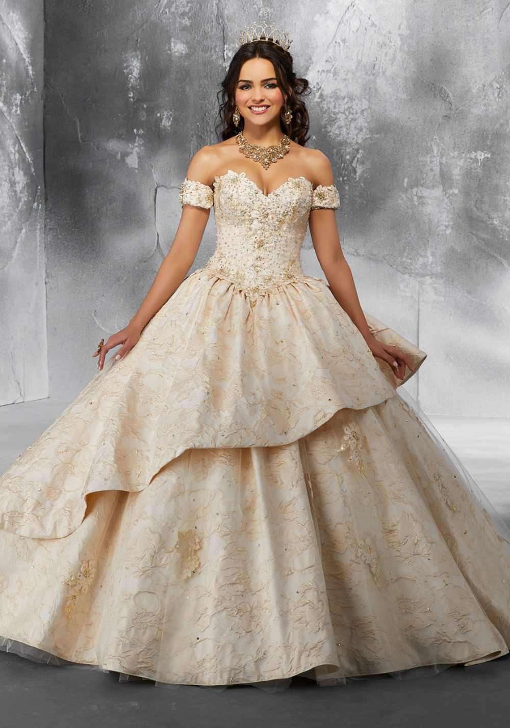 Beaded Brocade Ballgown with Tulle Skirt Overlay and