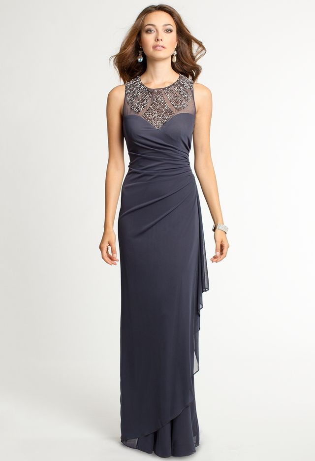 Illusion Beaded Studded Neckline Dress from Camille La Vie and Group ...