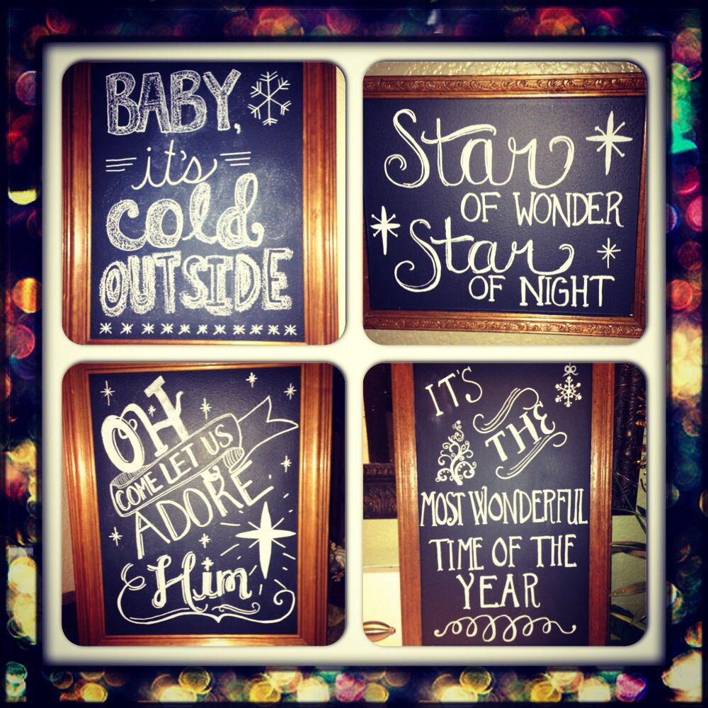 Diy Christmas chalk art. Old picture frames, cover glass with ...