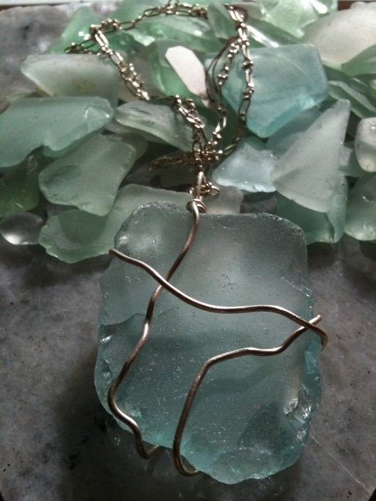 Chunky Aqua Blue Sea Glass & Sterling Silver Wire-Wrapped Necklace by Shannon M. Russell at Shannon Down By The Sea