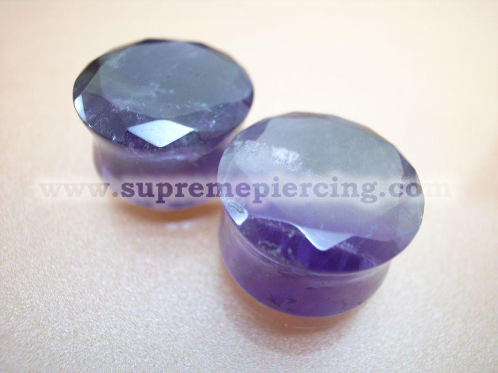 "11/16"" 18mm Amethyst Purple Stone Saddle Double Flare Ear Plugs"
