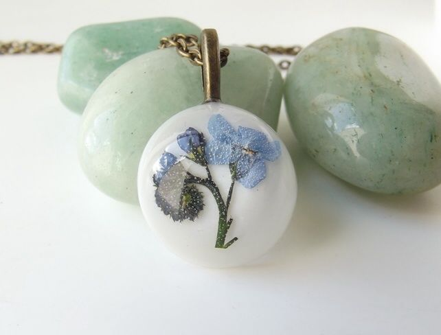 Forget me not real flower necklace  By Kaye Jackson
