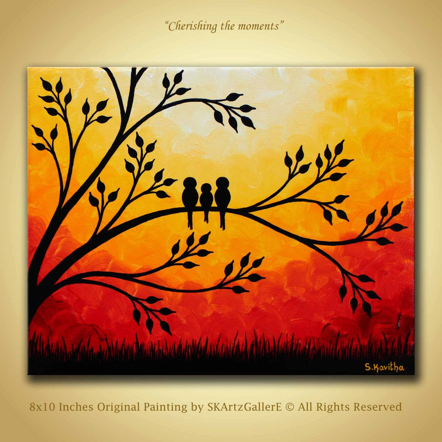 Family birds Artwork, Original Painting 8x10 canvas Wall art ...