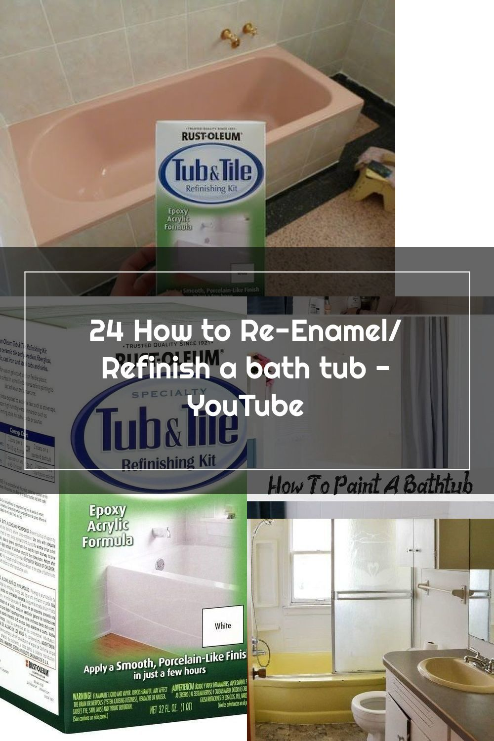 24 How To Re Enamel Refinish A Bath Tub Youtube In 2020 Painting Bathtub Refinishing Kit Tile Refinishing
