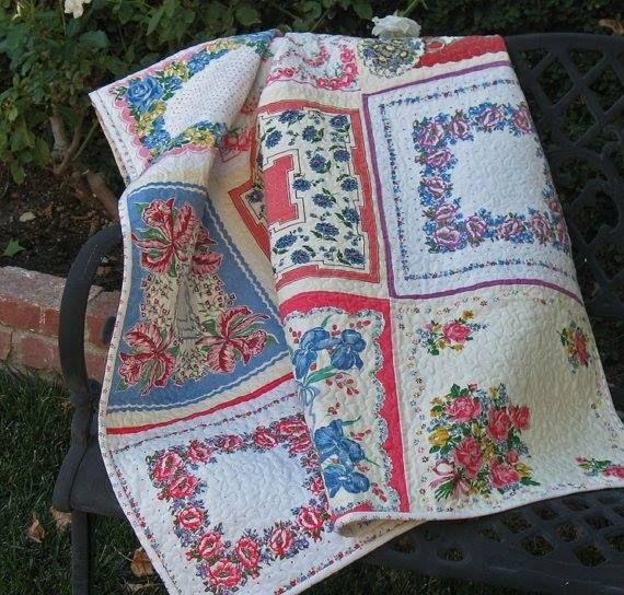 Quilt made from vintage hankies.  #allkinzastuf