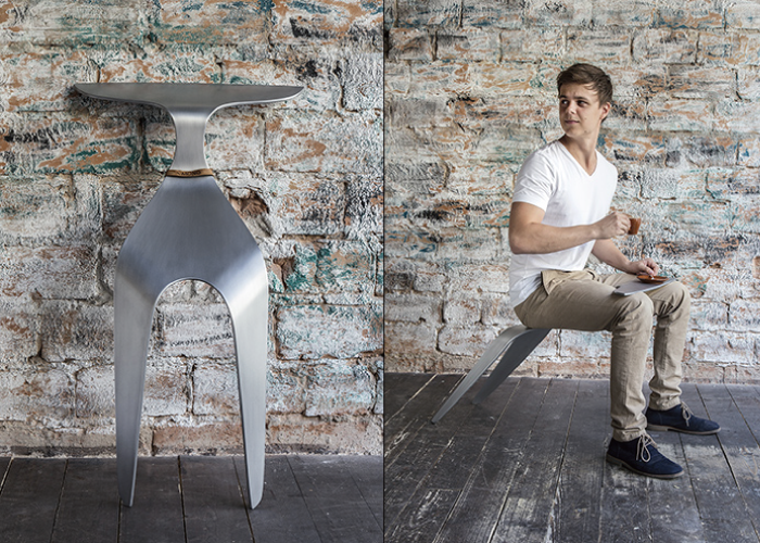 Become One With The Chair #LightMedia #FutureCreative #artsandgadgets #futuristic #PetrBadura #Czech #Mono #interactivedesign #chair #two-leg chair #aluminum