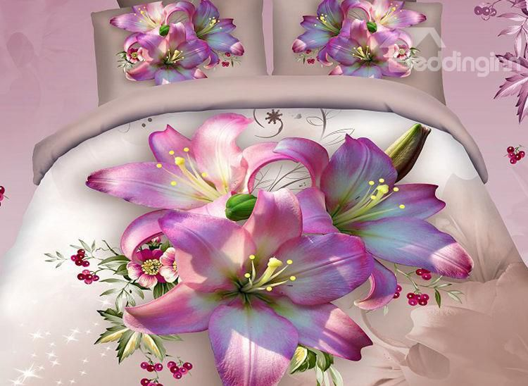 Excellent Pink Lily Print 4-Piece 100% Cotton Duvet Cover Sets on sale, Buy Retail Price Queen Size Bedding Sets at Beddinginn.com