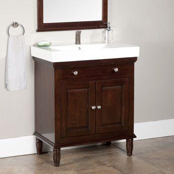 W X D Narrow Wood Vanity With Porcelain Top At Costco - Bathroom vanity 30 x 18 for bathroom decor ideas