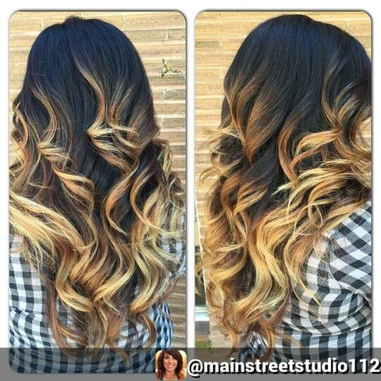 blonde black ombre dip dyed hair