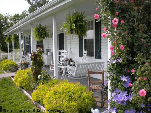 Country porches porch front porches and swings for Small front porch landscaping ideas