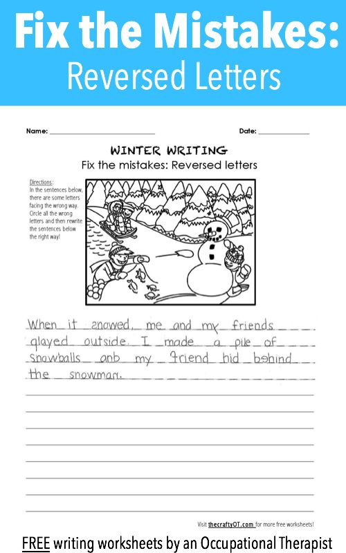 Winter Writing Fix The Mistakes Pediatric Ot Pinterest