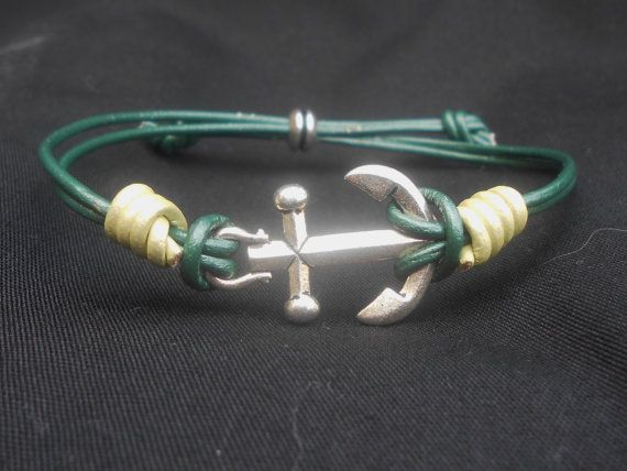 Silver Anchor Adjustable Bracelet with Metallic by CharmsByJessie, $10.00