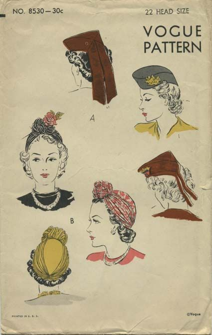 Vintage Hat Sewing Pattern | Vogue 8530 | Year 1939 | Head Size 22 ...