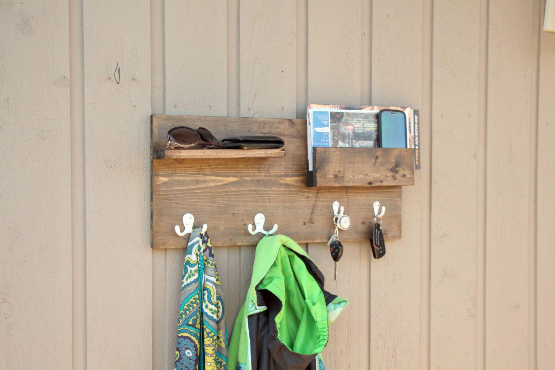 wall mounted coat rack entryway phone key organizer storage coat rack with pocket mail storage coat hooks