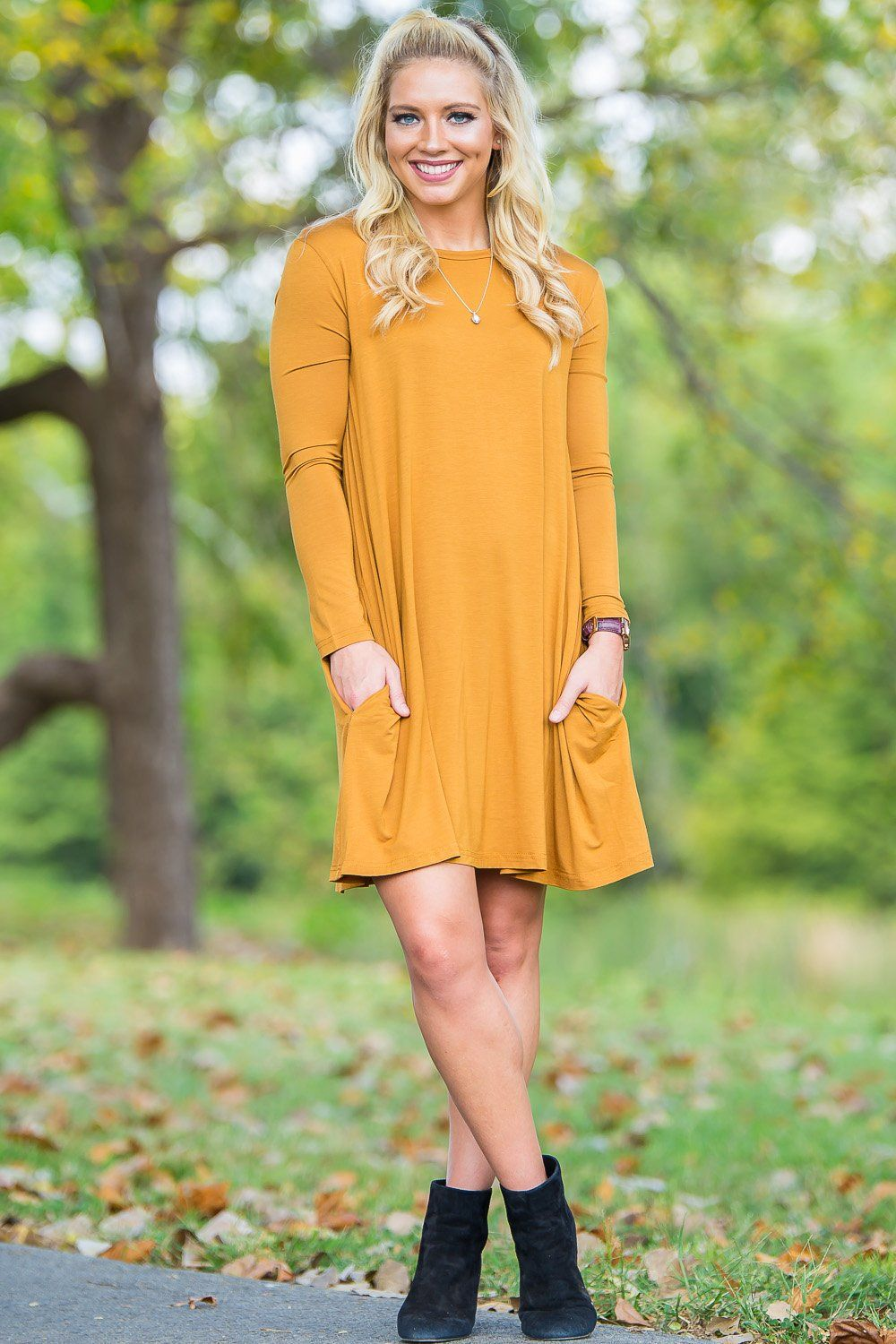 371cb4ee90 Piko Long Sleeve Swing Dress - Dark Mustard