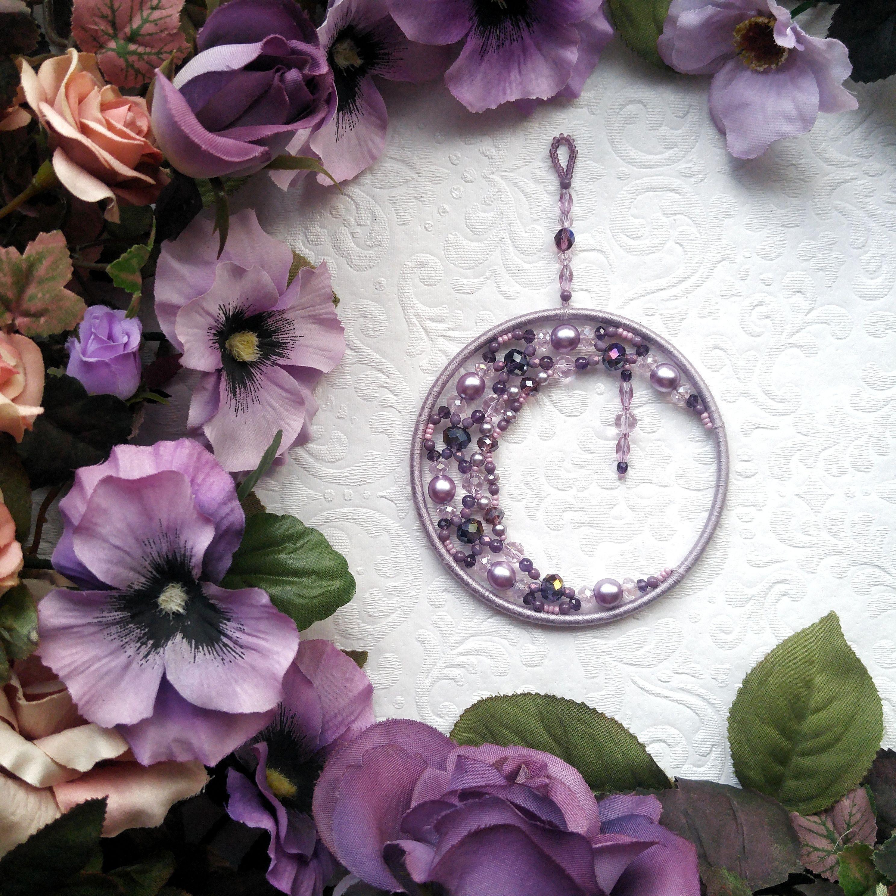 Purple crescent moon dream catcher. moonphasedecor