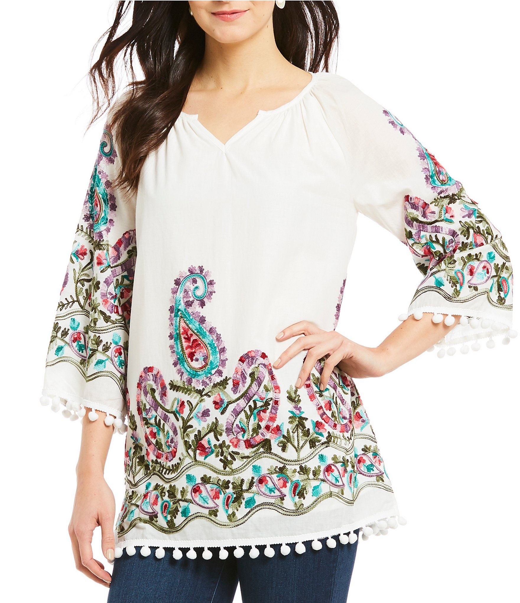 8b148a85529484 Calessa Embroidered Top #Dillards Dillards, Bell Sleeves, Bell Sleeve Top,  Paisley