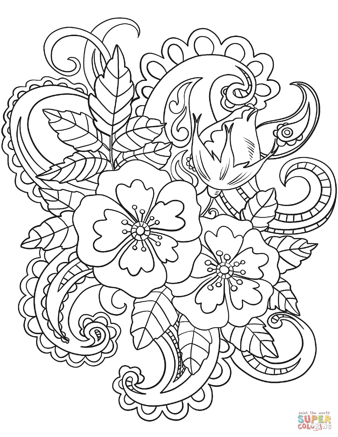 Flowers with Paisley Patterns coloring page from Paisley designs category.  Select from 29179 … | Flower coloring pages, Pattern coloring pages, Adult  coloring pages
