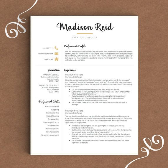 Modern Resume Template For Word U0026 Pages | 1, 2 And 3 Page Resume + Cover  Letter + Icons | Creative Black And Gold Resume Template |CV Resume