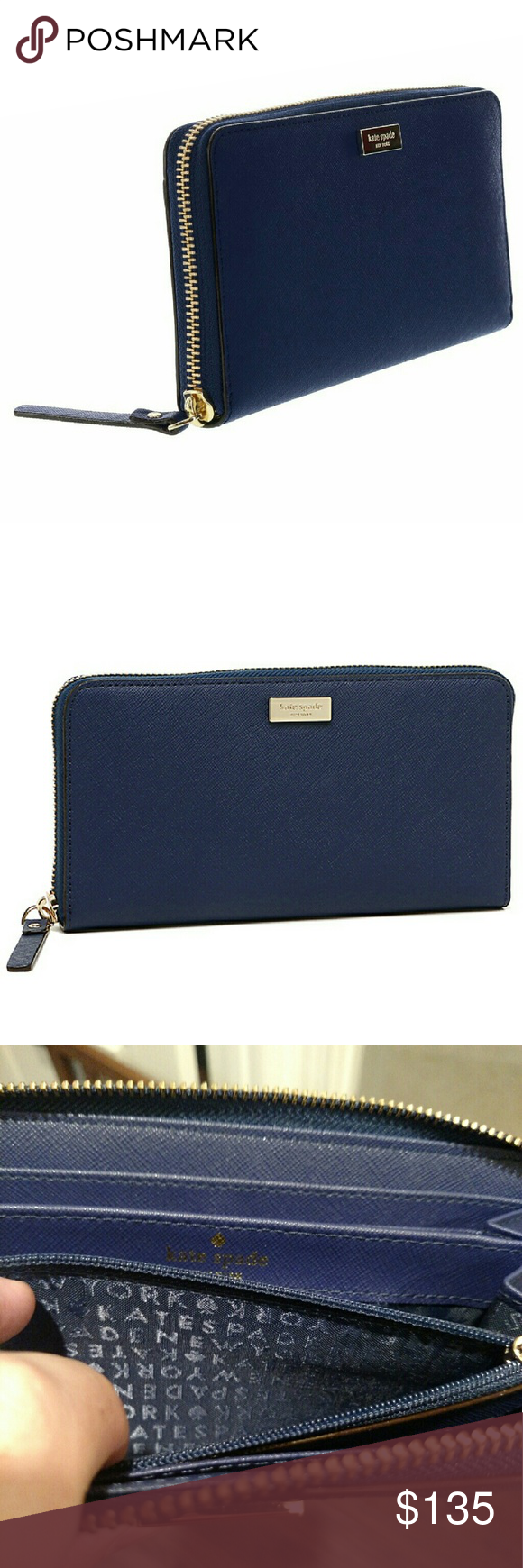 NWT Kate Spade navy wallet NWT Kate Spade neda Newbury lane wallet.  Navy blue color with yellow gold zipper.  All Navy interior.  Gotta get it before it's gone! kate spade Bags Wallets