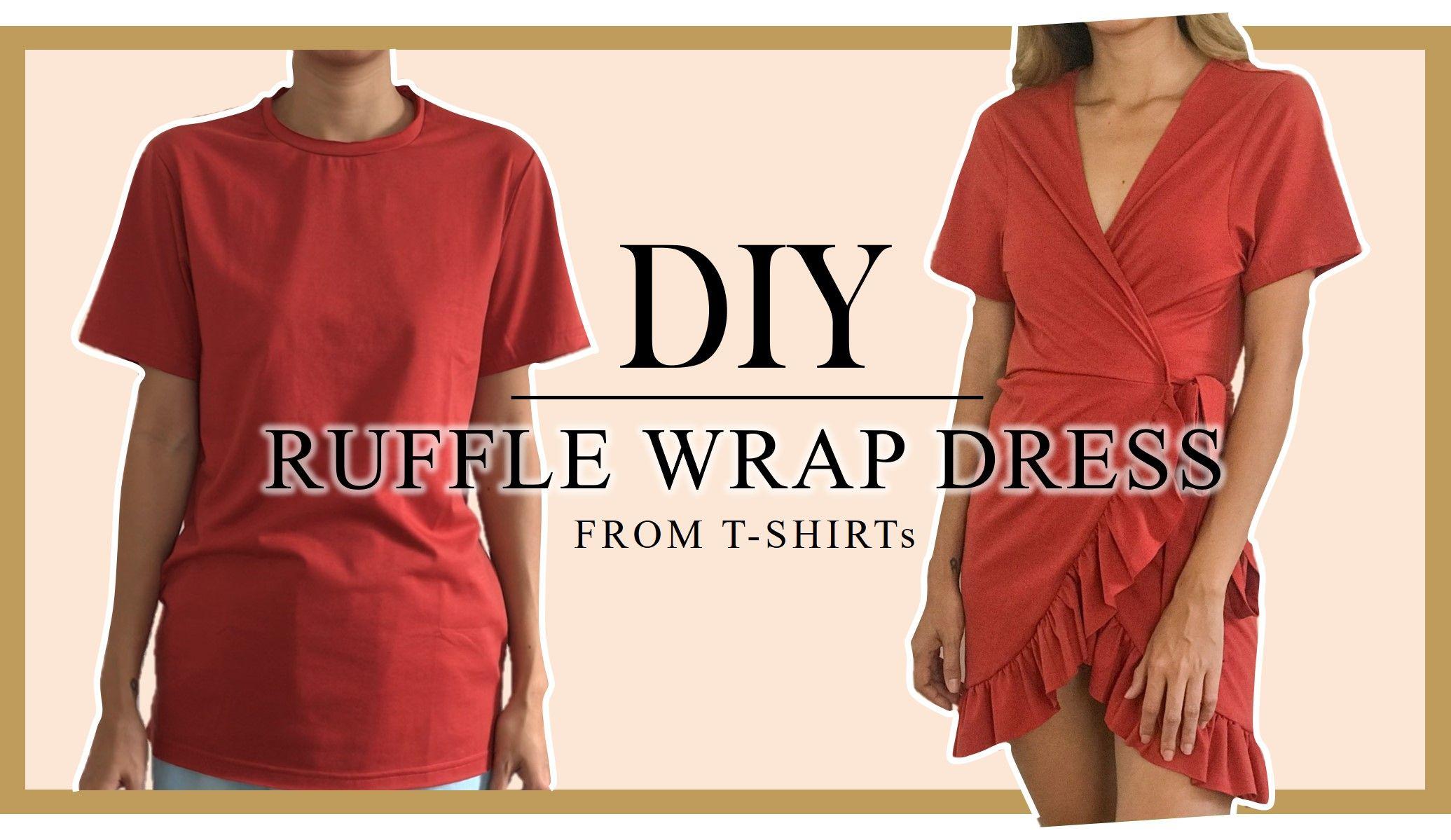 Diy Ruffle Wrap Dress From T Shirt Refashion T Shirt Into Ruffle Wrap Dress Wrap Dresses Diy Ruffle Wrap Dress Tshirt Refashion [ 1199 x 2071 Pixel ]