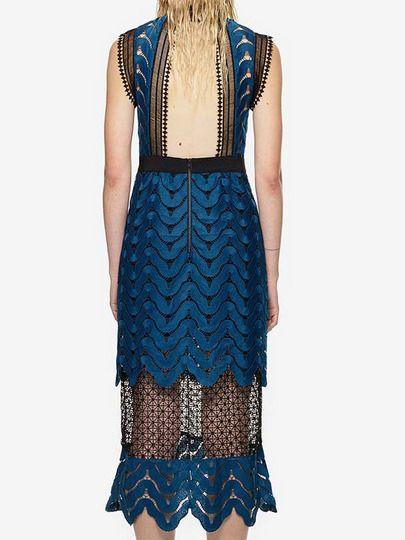 Black Sheer Lace Open Back Dress -SheIn(Sheinside) Mobile Site