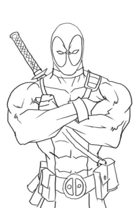 Online Deadpool Coloring Page Free To Print | Drawing example ...