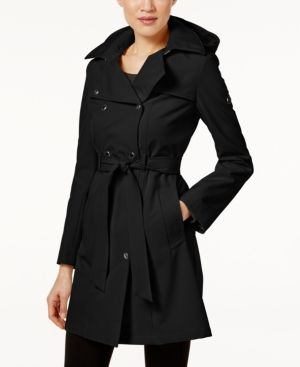 Calvin Klein Pe E Hooded Belted Trench Coat Black Pxl