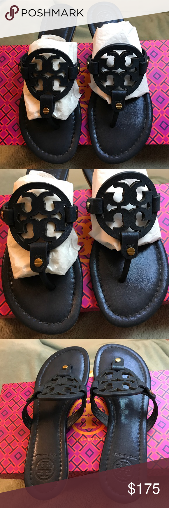 "09fe9e28443b6 Tory Burch ""Miller"" Flip Flop Sparkle Suede 💙 💯 Authentic worn once only  no flaws color Bright Navy Sparkle Suede...Out of Stock purchased at  nordstrom ..."