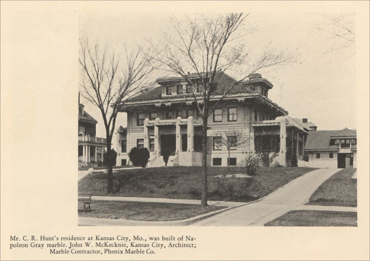 Mr C R Hunt S Residence At Kansas City Missouri Was Buillt Of Napoleon Gray Marble John W Mckecknie Ka Kansas City Kansas City Missouri City Pictures