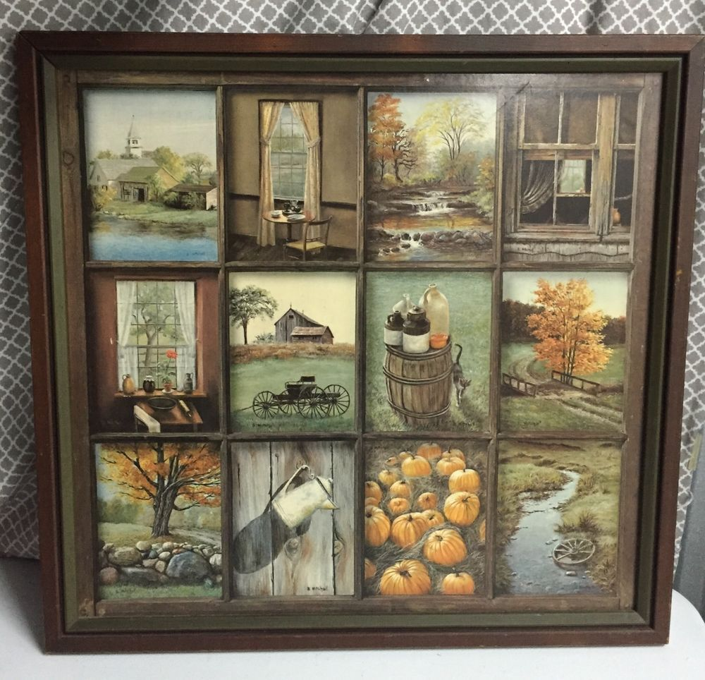 Home Interior B Mitchell Fall Harvest Vintage Wood Framed Print Country Collage Ebay A Ebay